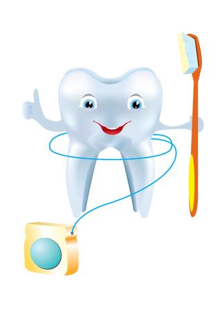 Los dientes y usar el hilo dental