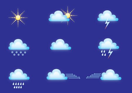 Weather icons on blue Stock Photo - 4513610