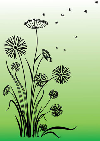 Floral abstract flower on green Vector