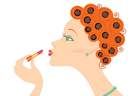 ceremonial makeup: Portrait woman with lipstick and curlers