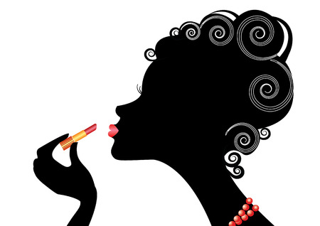 red hair beauty: Silhouette of woman and red lipstick.MAke up