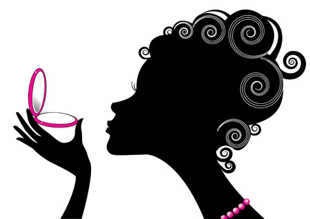 rímel: Silhouette of woman and power compact.Make up