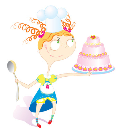 Little girl with sweet cake.Celebration Vector