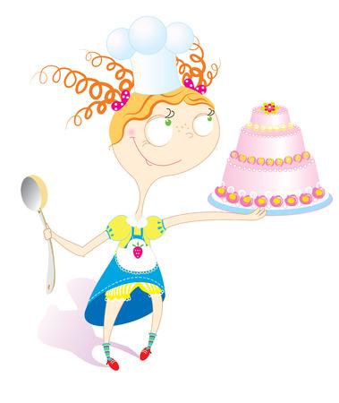 Little girl with sweet cake.Celebration