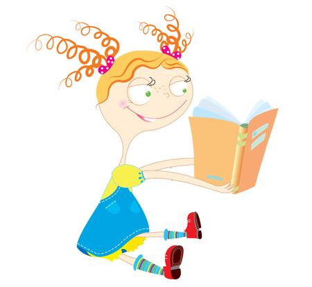 nice girl: Nice girl reading book.Baby