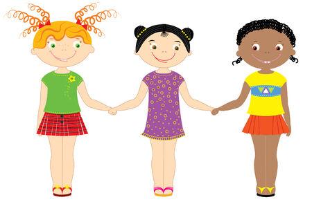 racial: Nationality girls.Multi racial children Illustration