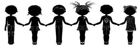 Silhouette of people. Children Illustration