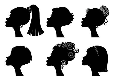 side profiles: Silhouettes women heads Illustration