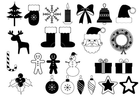 vector lines: Christmas icons