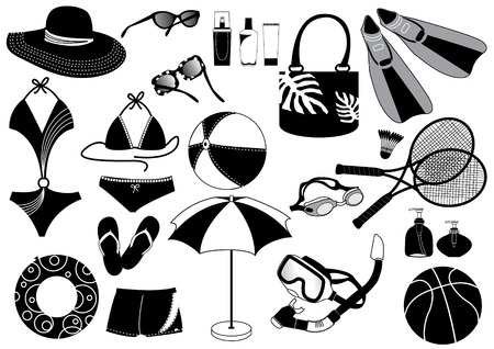 Silhouettes of things for beach Stock Vector - 5104606