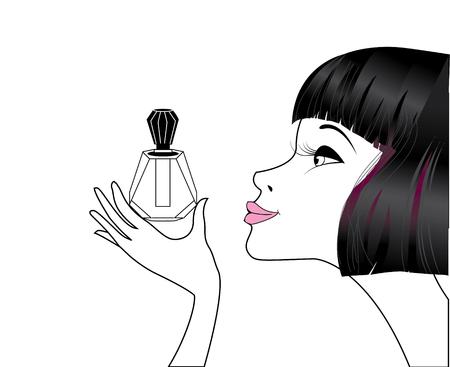 fragrance: Dame met parfum Stock Illustratie