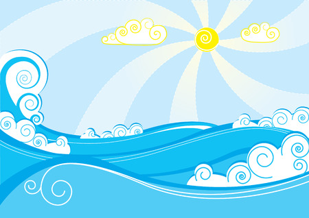 Vector color sea. Stock Vector - 5566385