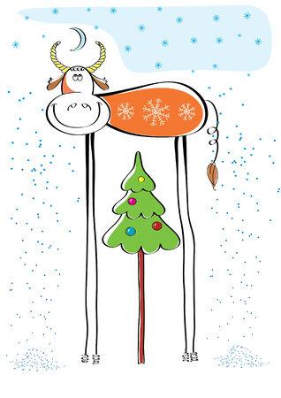 christmas postcard:  Christmas postcard with color bull
