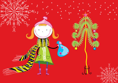 caroler: Vector nice girl and tree. Christmas postcard Illustration