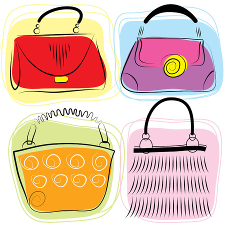 Color bags for women Vector