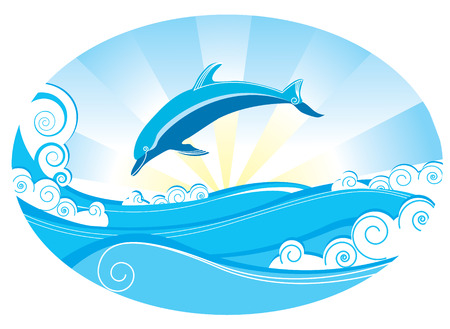 Dolphin and sea. Blue vector image Vector
