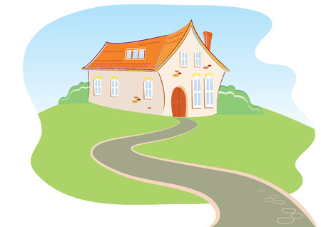 House and road.Vector cartoon image Vector