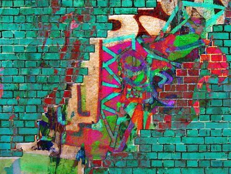 urban life: Graffiti texture. Abstract collage. Stock Photo