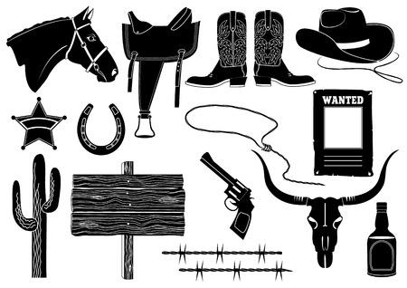 wild wild west: Cowboy elements.silhouettes su bianco  Vettoriali