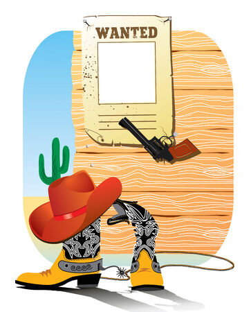 Cowboy West life. shoes and hat.  Vector