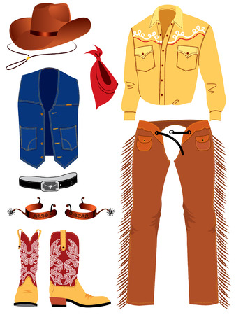 Cowboy clothes on white. Vector