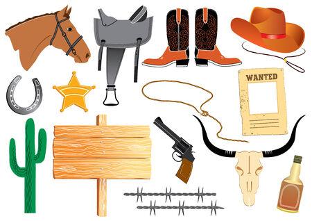 Cowboy elemennts. Texas life   Illustration