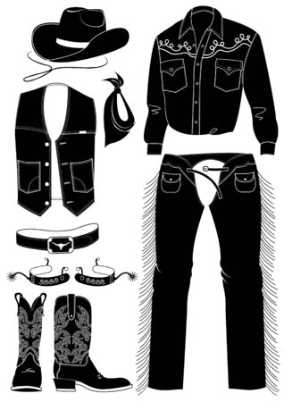 Cowboy clothes on white. silhouettes  Vector