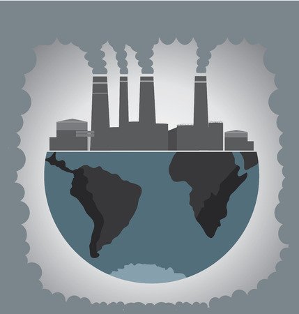 pollution: Factory pollution.  Illustration
