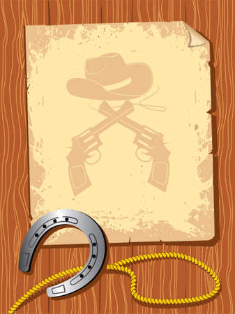 old paper with cowboy elements Vector