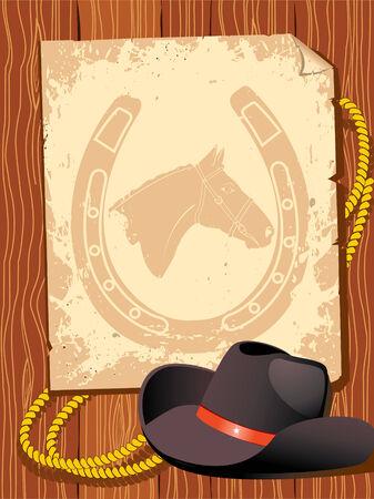 fer   � cheval: vieux papier avec des �l�ments de cowboy Illustration