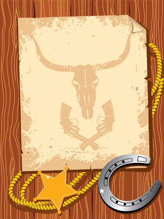 old paper with cowboy elements Stock Vector - 5978344