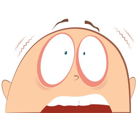 poltergeist: face fear.Terrified portrait Illustration
