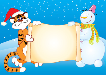 New year postcard for text.cartoon tiger and snowman