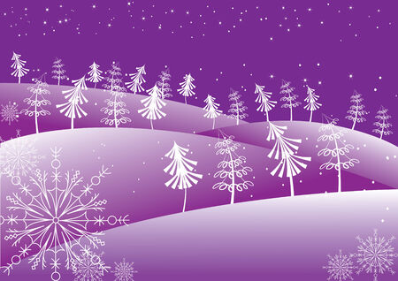 Vector winter abstract with Christmas trees .Postcard Vector