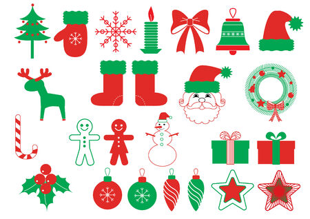 Vector christmas sumbols .Green red elements Vector