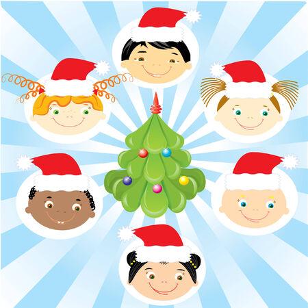 Vector Christmas children and tree.POstcard Vector
