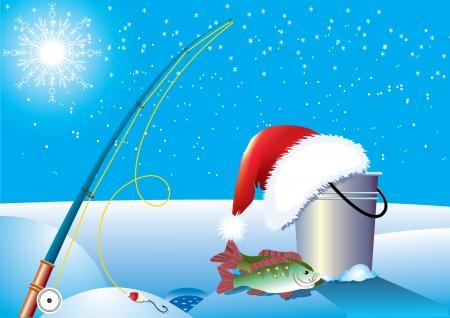 Santa fishing .Vector Christmas cartoons Stock Vector - 6082331