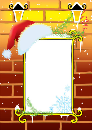 restyled: Vector Christmas background for text with Santa hat