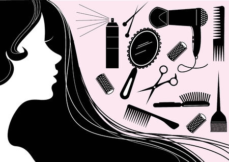 Hairstyle elements for salon with face. silhouette Stock Vector - 6266084