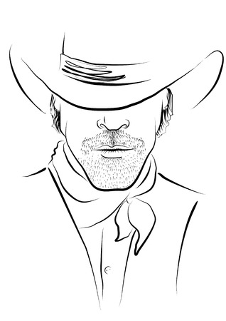 adults only: Vector cowboy. Portrait Illustration