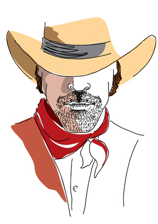 one man only: Vector cowboy portrait on white