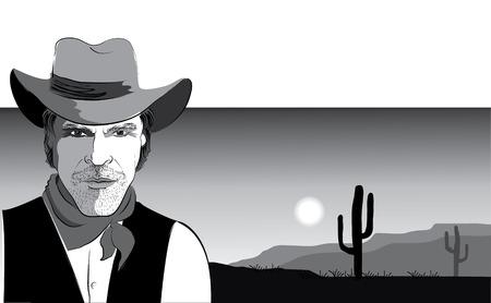 cowboy and savanna.Black white image Vector