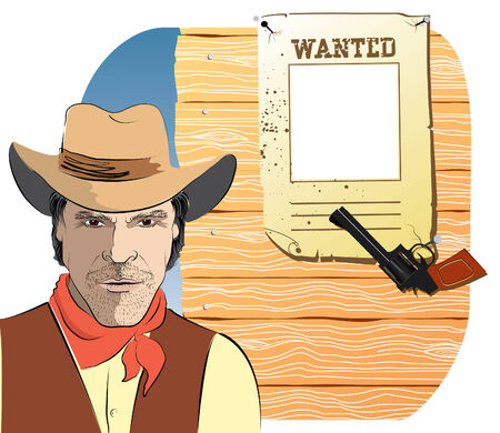 Cowboy and paper Wanted Vector