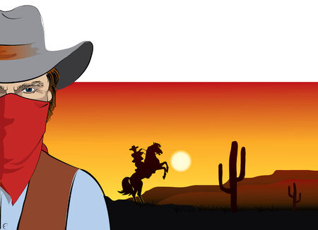 wild prairie: cowboy .Bandit in mask Illustration