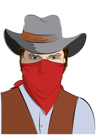 rustler: bandit. Bad guy in mask Illustration