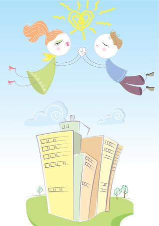 Lovers in blue sky. love postcard Stock Vector - 6368593