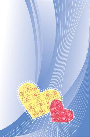 valentin's: Valentins postcard.  blue greeting background