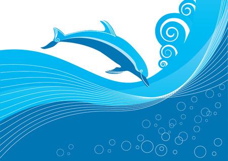 Vector azul de delfines en el mar