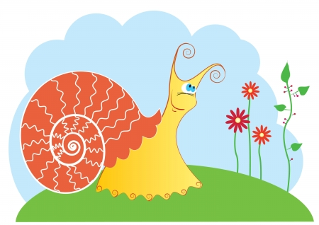 Vector smiling snail and flowers Vector