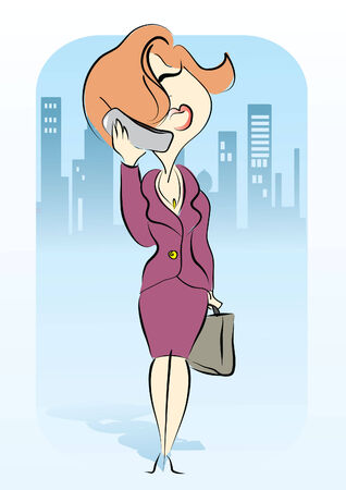 businesswoman is talking on phone.Woman on work Vector